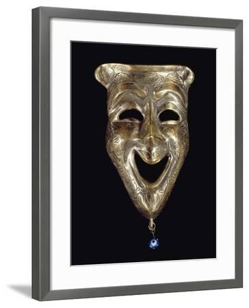 Smiling Mask with Incised Decoration and Attached Glass Eye--Framed Giclee Print