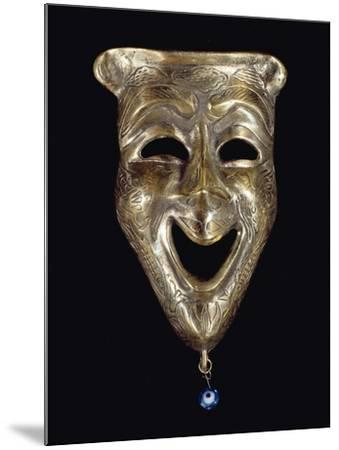 Smiling Mask with Incised Decoration and Attached Glass Eye--Mounted Giclee Print