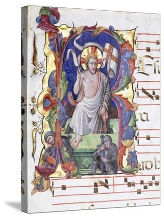Very Large Historiated Letter 'A', Showing the Resurrection, C.1400-1450--Stretched Canvas Print