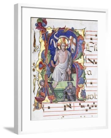 Very Large Historiated Letter 'A', Showing the Resurrection, C.1400-1450--Framed Giclee Print