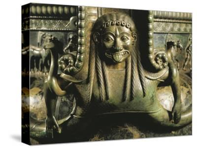 France, Chatillon-Sur-Seine, Detail of Gorgon on Bronze Vix Krater--Stretched Canvas Print