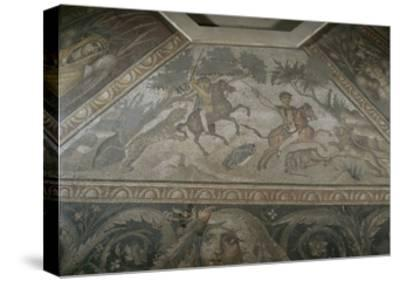 Roman Mosaic with Scene of Wild Beasts Hunt, from Antakya--Stretched Canvas Print