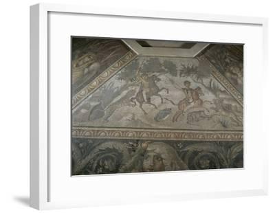 Roman Mosaic with Scene of Wild Beasts Hunt, from Antakya--Framed Giclee Print