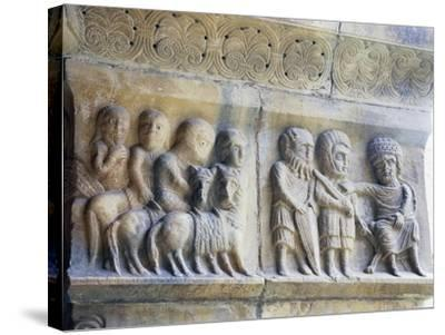 Marble Pillar with Relief Depicting King and His Knights--Stretched Canvas Print