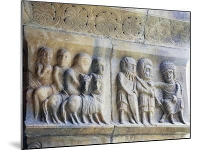 Marble Pillar with Relief Depicting King and His Knights--Mounted Giclee Print