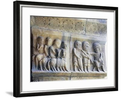 Marble Pillar with Relief Depicting King and His Knights--Framed Giclee Print