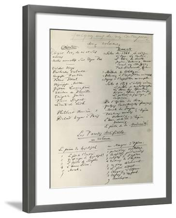 Curiosites Esthetiques, Handwritten Notes by Charles Baudelaire--Framed Giclee Print