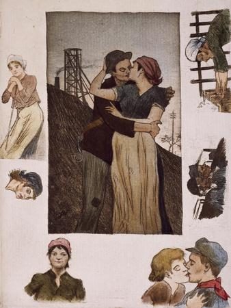 Couple of Workers Kissing, Illustration for Works of Emile Zola--Framed Giclee Print
