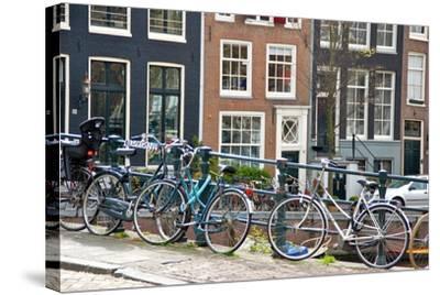 Bikes on Lijnbaansbrug Bridge, Amsterdam, the Netherlands--Stretched Canvas Print