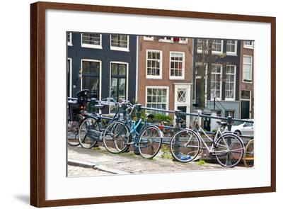 Bikes on Lijnbaansbrug Bridge, Amsterdam, the Netherlands--Framed Photographic Print