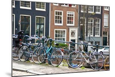 Bikes on Lijnbaansbrug Bridge, Amsterdam, the Netherlands--Mounted Photographic Print