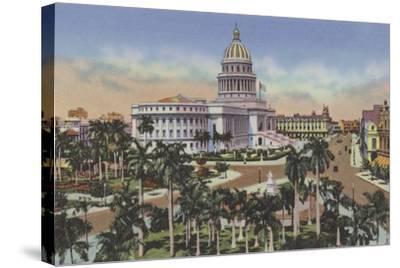 Parque De La Fraternidad Y Capitolio, Fraternity Square and Capitol--Stretched Canvas Print