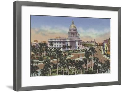 Parque De La Fraternidad Y Capitolio, Fraternity Square and Capitol--Framed Photographic Print