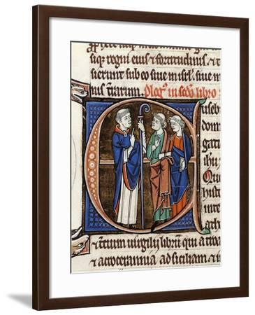 France, Saint Jerome and His Companions, Miniature from the Latin Bible--Framed Giclee Print
