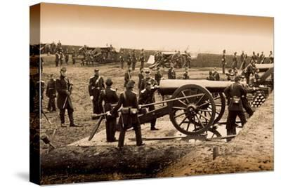 1st Connecticut Heavy Artillery Manning Guns in Fort Richardson, Late 1861--Stretched Canvas Print