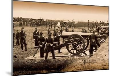 1st Connecticut Heavy Artillery Manning Guns in Fort Richardson, Late 1861--Mounted Photographic Print