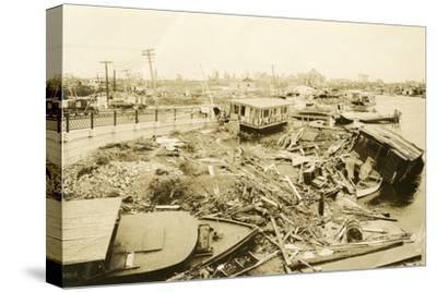 Miami River at Ramp to 5th Street Bridge, after the Hurricane, 1926--Stretched Canvas Print