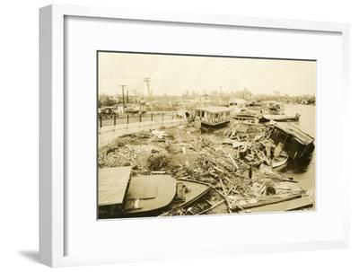 Miami River at Ramp to 5th Street Bridge, after the Hurricane, 1926--Framed Photographic Print