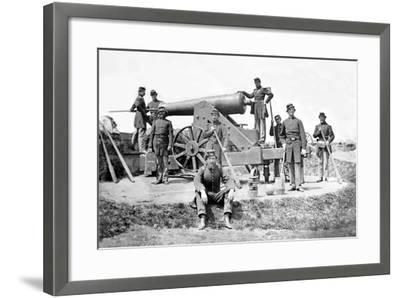 New York Artillerymen with a Heavy Gun in Fort Corcoran, Spring 1862--Framed Photographic Print