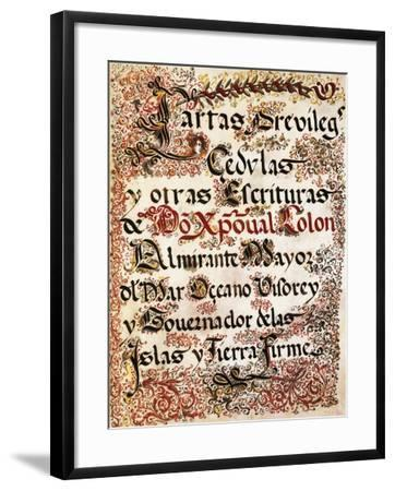 Book of Privileges Granted to Christopher Columbus--Framed Giclee Print