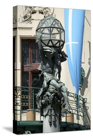 Atlas on the Portal of the Municipal House, Prague, Czech Republic--Stretched Canvas Print