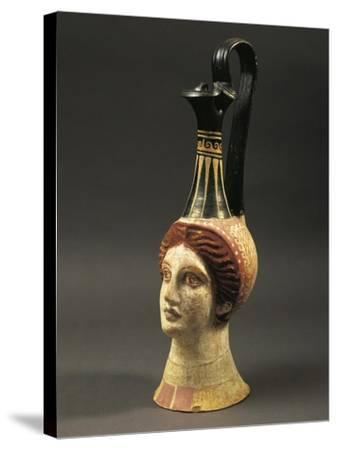 Lekythos Showing Woman's Head, Painted Terracotta from Hypogeum--Stretched Canvas Print