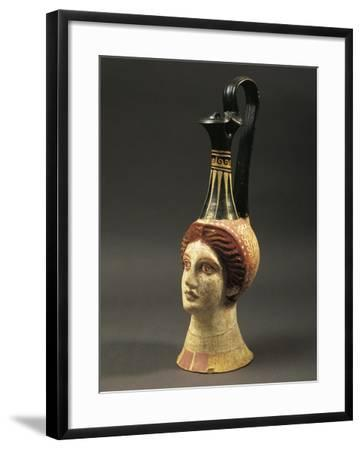 Lekythos Showing Woman's Head, Painted Terracotta from Hypogeum--Framed Giclee Print