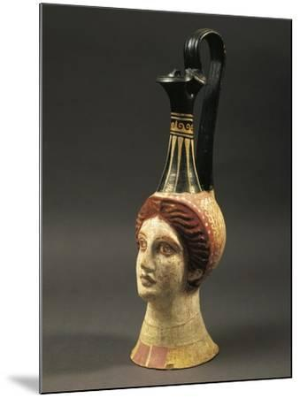 Lekythos Showing Woman's Head, Painted Terracotta from Hypogeum--Mounted Giclee Print