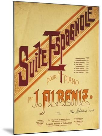 Title Page of Score for Suite Espanola, by Isaac Albeniz--Mounted Giclee Print