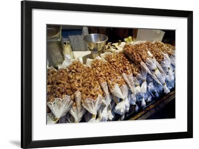 Christmas Market Stand with Bags of Caramelised Almonds--Framed Photographic Print