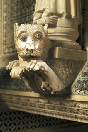 Guarding Lion, Detail of Decorations, San Miniato Al Monte--Stretched Canvas Print