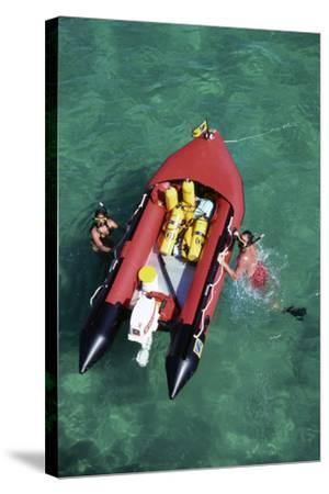 Couple Snorkeling Off their Dinghy in Biscayne Bay, C.1990--Stretched Canvas Print