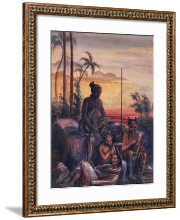 Inhabitants of Marquesas Islands, Watercolour by Maximilien Radiguet--Framed Giclee Print