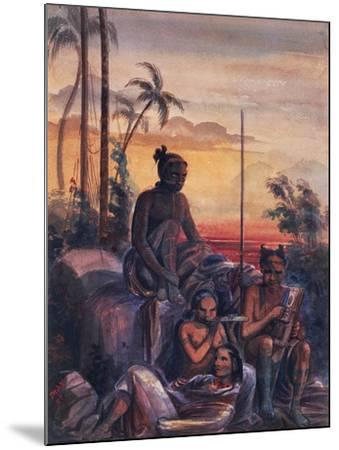 Inhabitants of Marquesas Islands, Watercolour by Maximilien Radiguet--Mounted Giclee Print