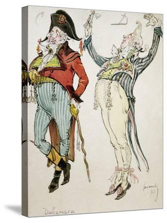 Costume Sketch by Caramba, Pseudonym of Luigi Sapelli--Stretched Canvas Print