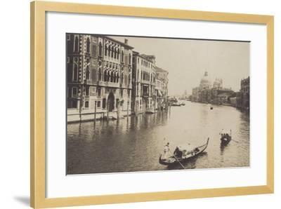 Postcard Depicting Gondolas on the Grand Canal in Venice--Framed Photographic Print