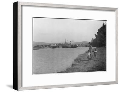 Woman and Children Watching a Ship at Waipu Wharf, C.1900--Framed Photographic Print