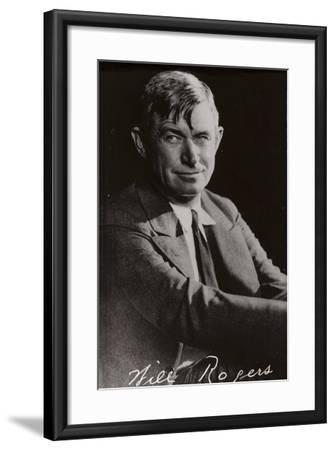 Will Rogers, American Cowboy, Vaudeville Performer and Film Actor--Framed Photographic Print