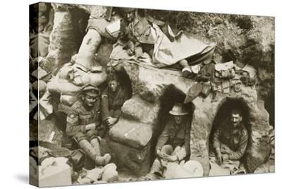 Our Men are Very Comfortable in the Old German Dug-Outs, 1916--Stretched Canvas Print