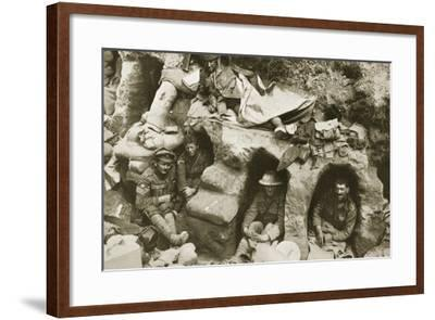 Our Men are Very Comfortable in the Old German Dug-Outs, 1916--Framed Photographic Print