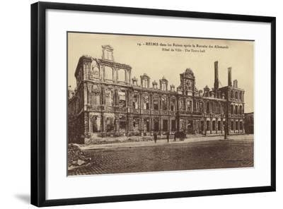 Ruins of the Town Hall, Reims, France, World War I--Framed Photographic Print