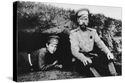 Tsar Nicholas II with His Son Alexei at the Front, 1916--Stretched Canvas Print