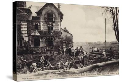 House with a River Flowing Beneath It, Noyon, France, World War I--Stretched Canvas Print