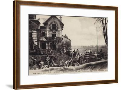 House with a River Flowing Beneath It, Noyon, France, World War I--Framed Photographic Print