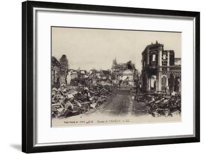 Ruins of the Town of Chauny, Aisne, France, World War I--Framed Photographic Print