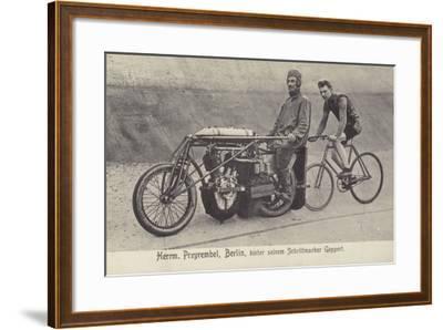 Herrm Przyrembel, Berlin, Hinter Seinem Schrittmacher Geppert--Framed Photographic Print