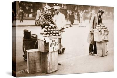 Jobless New Yorkers Selling Apples on the Pavement, 1930--Stretched Canvas Print