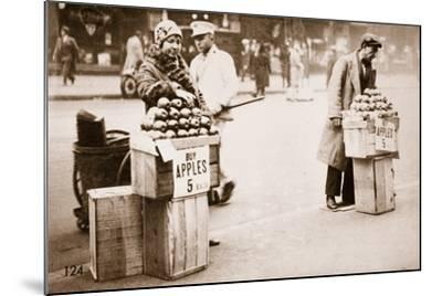 Jobless New Yorkers Selling Apples on the Pavement, 1930--Mounted Photographic Print
