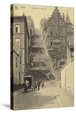Postcard Depicting Stairway of the Montagne De Bueren--Stretched Canvas Print
