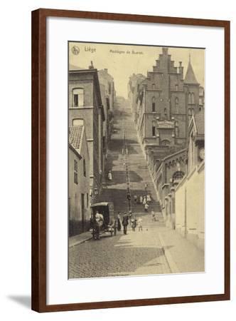 Postcard Depicting Stairway of the Montagne De Bueren--Framed Photographic Print